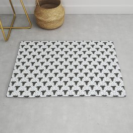 Cute Black Dog Faces on Abstract Gray Geometric Pattern Rug