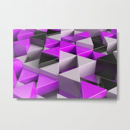 Pattern of black, white and purple triangle prisms Metal Print