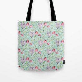 Modern pink lilac red watercolor girly magnolia floral Tote Bag