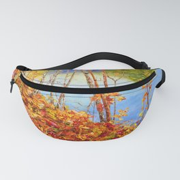 Golden autumn with maple leaves and a river Fanny Pack