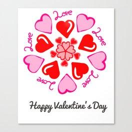 Happy Valentine's Day Love Hearts Canvas Print