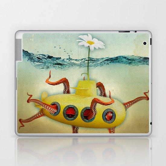 yellow submarine in an octapuses garden Laptop & iPad Skin