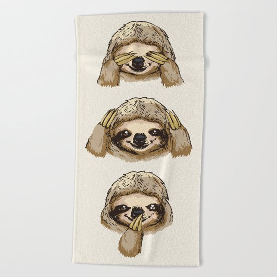 No Evil Sloth Beach Towel