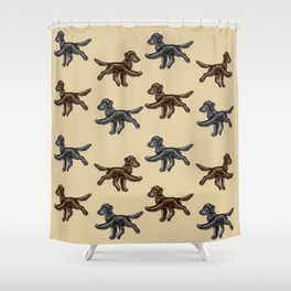 Flat Coated Retrievers Black and Liver V2 Shower Curtain