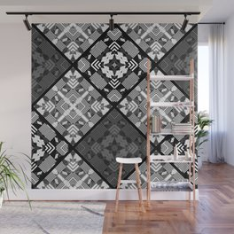 Geometric plaid patchwork quilting patches monochrome black white gray Wall Mural