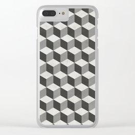 Geometric Cube Pattern  - Black, White, Grey Clear iPhone Case