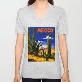 Vintage Mexico Village Travel Unisex V-Neck