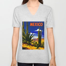 Vintage Mexico Village Travel Unisex V-Neck
