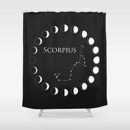 Scorpio, Scorpius Zodiac Constellation and Moon Phases Shower Curtain