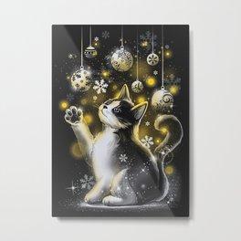 Cat Christmas Lights Metal Print