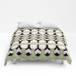 Vintage Mint Green Assyrian Pattern with a hint of Art Deco Comforters