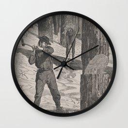 Vintage Illustration of a Lumberjack (1871) Wall Clock