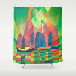 Sea of Green With Cubist Abstract Junks Shower Curtain