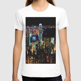 Hong Kong City Skyine Black Night T-shirt