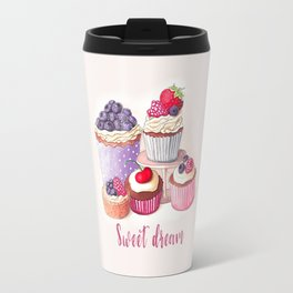 Sweet dream Cute cupcakes with berries Hand-drawn illustration Travel Mug