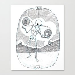 Two of Coins Skeleton Tarot Canvas Print