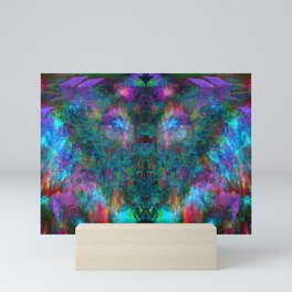 Butterfly Block Face (Cyan) (abstract, psychedelic, visionary) Mini Art Print