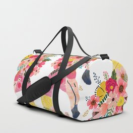 Pink flamingo with flowers on head Duffle Bag