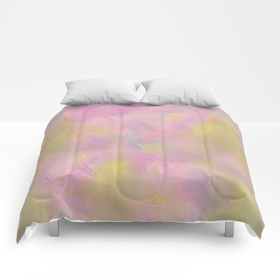 Soft Pastel Feathered Abstract Comforters