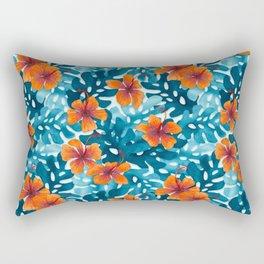 Tropical Hibiscus Pattern Orange Rectangular Pillow