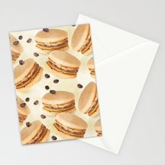 Coffee macarons pattern Stationery Cards