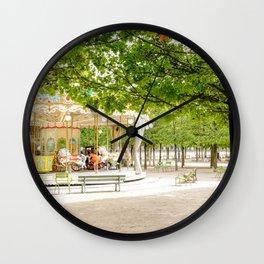 Charming Carousel in Paris France Wall Clock