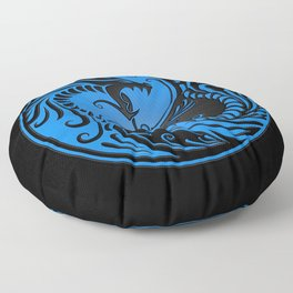 Blue and Black Yin Yang Dragons Floor Pillow