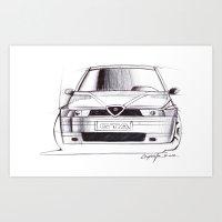 gta Art Prints featuring Alfa Romeo 155 GTA by Michele Leonello