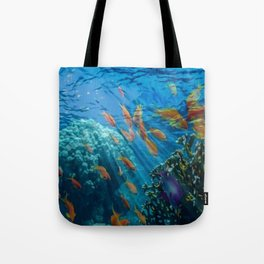 Orinoco Flow - Far Beneath the Coral Sea, Ocean Portrait by Jeanpaul Ferro Tote Bag