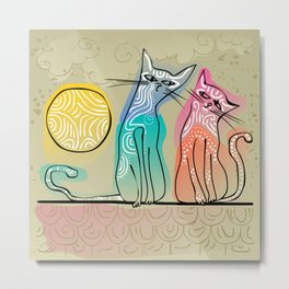 cute cats in love sitting on a roof Metal Print