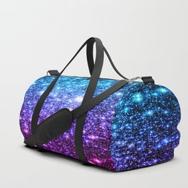 Glitter Galaxy Stars : Turquoise Blue Purple Hot Pink Ombre Duffle Bag