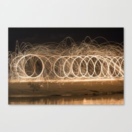 Wool spinning at the beach Canvas Print