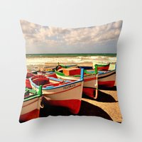 boats Throw Pillows featuring boats by  Agostino Lo Coco