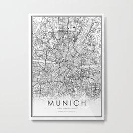 Munich City Map Germany White and Black Metal Print