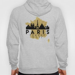 PARIS FRANCE SILHOUETTE SKYLINE MAP ART Hoody