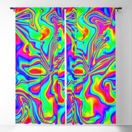 Psychedelic Rainbow Marbleized Pattern  Blackout Curtain