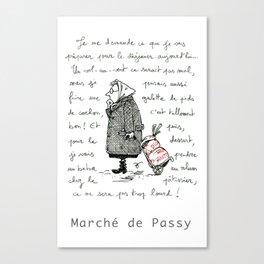 A Few Parisians: Marché de Passy by David Cessac Canvas Print