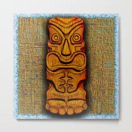 Tiki Tile Wood Carving Metal Print