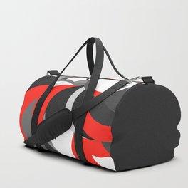black white grey red geometric digital art Duffle Bag