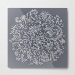 Jacobean Inspired Light on Dark Grey Floral Doodle Metal Print