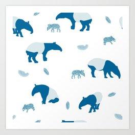 Malayan Tapir In Blue Art Print