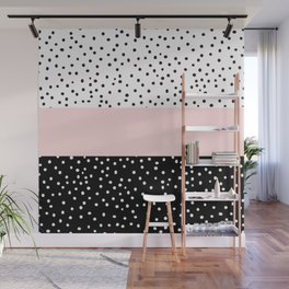 Pink white black watercolor polka dots Wall Mural