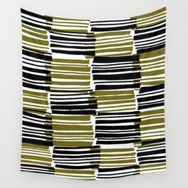 Khaki and Black Stripes - Sarah Bagshaw Wall Tapestry