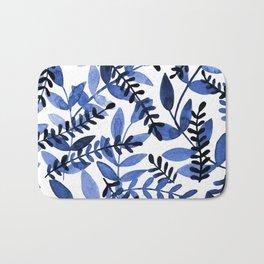 Watercolor branches - blue Bath Mat
