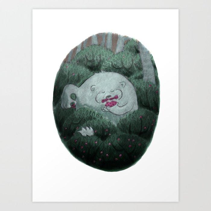 Bear and Berries Art Print
