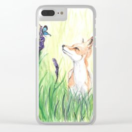 Fox with Butterflies Clear iPhone Case