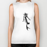 mermaid Biker Tanks featuring Mermaid by Derek Stewart
