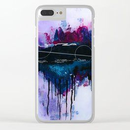 Dawn, pink and fushia black and blue acrylic abstract artwork Clear iPhone Case