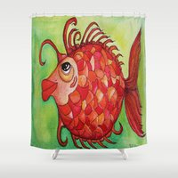 amy hamilton Shower Curtains featuring AMY by Caribbean Critters Co.