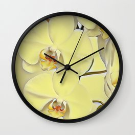 """A series of """"Favorite pillows """"""""Yellow Orchid"""" Wall Clock"""